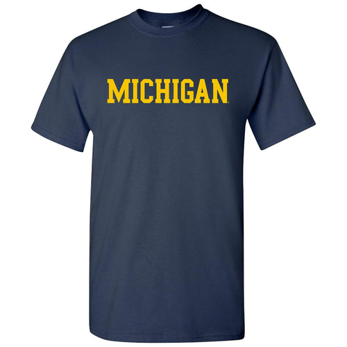 Basic Block University of Michigan Basic Cotton Short Sleeve T Shirt- Navy