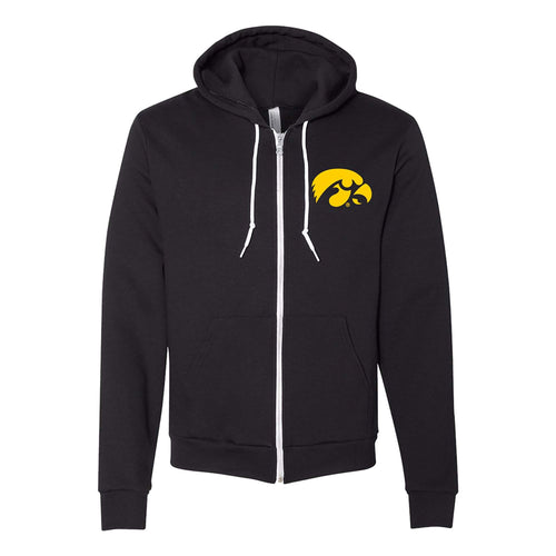 University of Iowa Hawkeye Logo American Apparel Zip Hoodie - Black