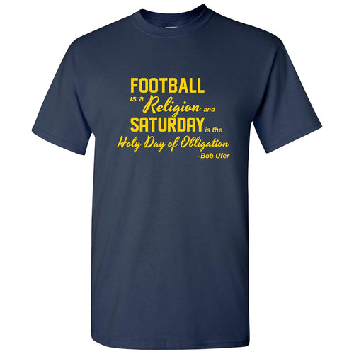 Football is a Religion University of Michigan Basic Cotton Short Sleeve T Shirt - Navy