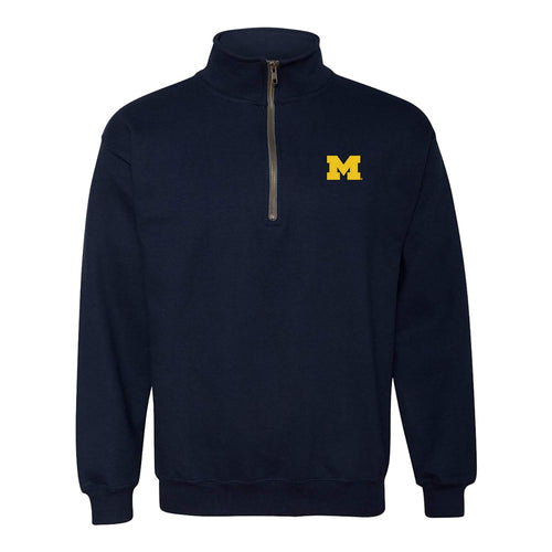 Embroidered Primary Logo University of Michigan Heavy Blend Quarter Zip Sweatshirt - Navy