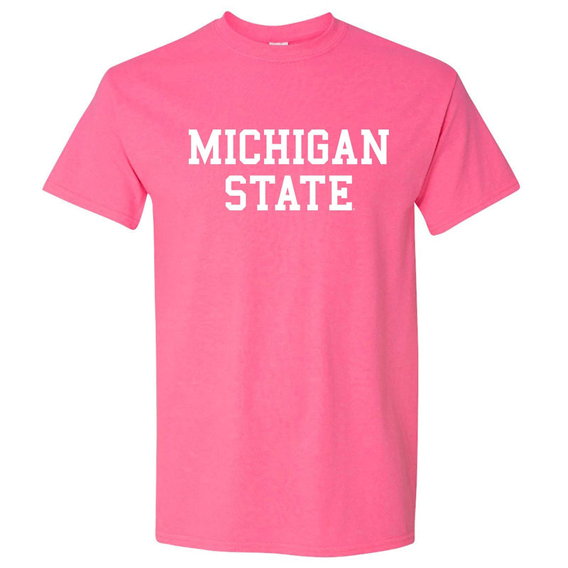 Michigan State University Spartans Basic Block Short Sleeve Tee - Safety Pink