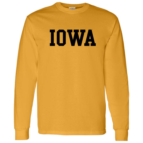 University of Iowa Hawkeyes Basic Block Long Sleeve T Shirt - Gold