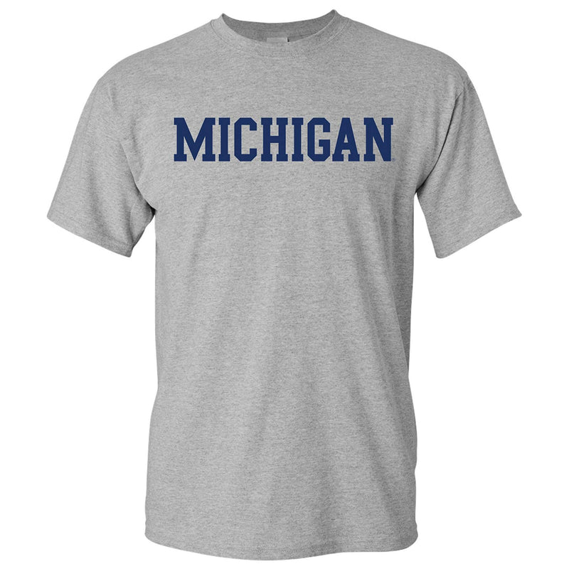 Basic Block University of Michigan Basic Cotton Short Sleeve T Shirt - Sport Grey