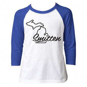 Smitten 3/4 Sleeve Youth - White/Royal