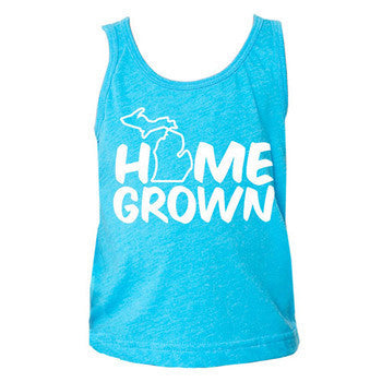 Home Grown MI Toddler Tank - Neon Heathered Blue