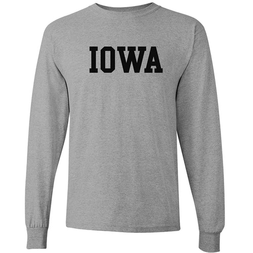 University of Iowa Hawkeyes Basic Block Long Sleeve T Shirt - Sport Grey