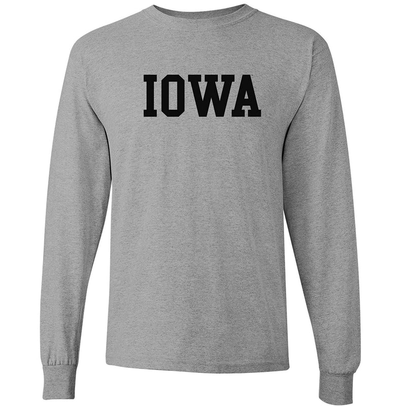 University of Iowa Hawkeyes Basic Block Long Sleeve T Shirt - Grey