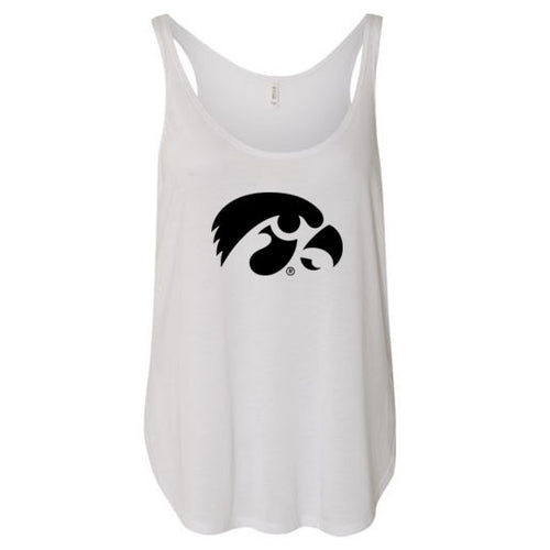University of Iowa Hawkeye Logo Bella Flowy Side Slit Tank - White