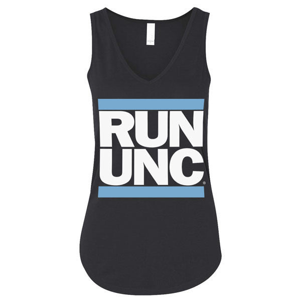 RUN UNC Flowy V-Neck Tank - Black