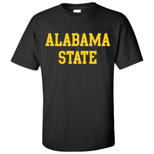 Alabama State University Hornets Basic Block Short Sleeve T Shirt - Black