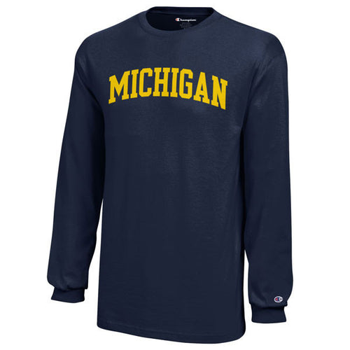Arch Michigan Champion Youth Long Sleeve T Shirt - Navy