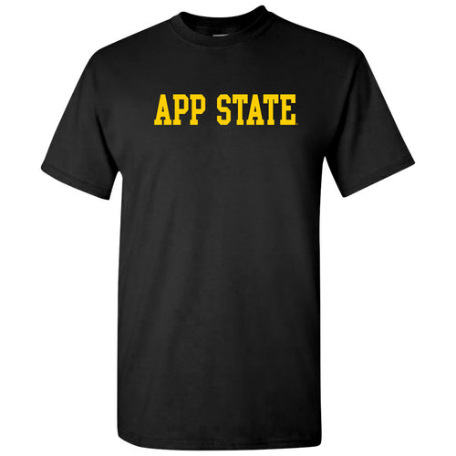 Appalachian State University Mountaineers Basic Block Cotton T-Shirt - Black