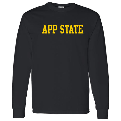 Appalachian State University Mountaineers Basic Block Cotton Long Sleeve T-Shirt - Black