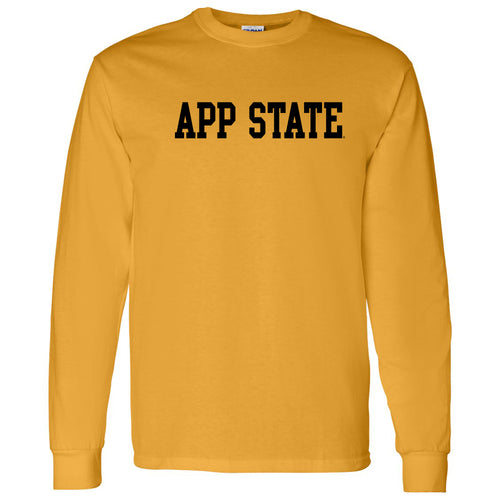 Appalachian State University Mountaineers Basic Block Cotton Long Sleeve T-Shirt - Gold