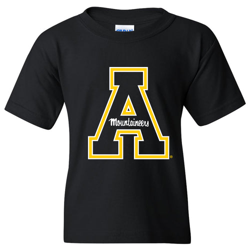 Appalachian State University Mountaineers Primary Logo Cotton Youth T-Shirt - Black