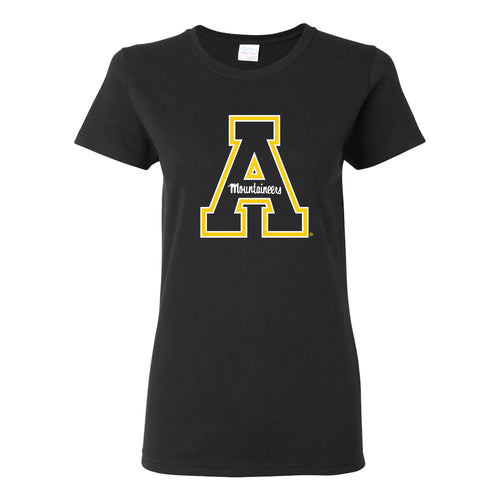 Appalachian State University Mountaineers Primary Logo Cotton Womens T-Shirt - Black