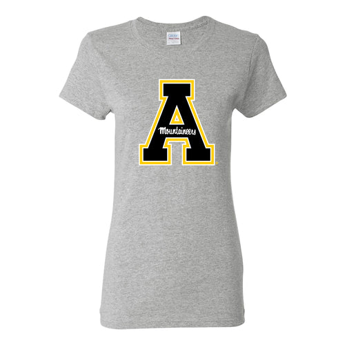 Appalachian State University Mountaineers Primary Logo Cotton Womens T-Shirt - Sport Grey