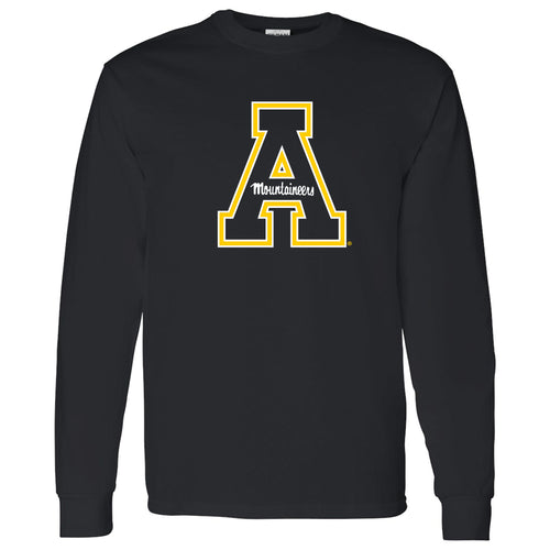 Appalachian State University Mountaineers Primary Logo Cotton Long Sleeve T-Shirt - Black