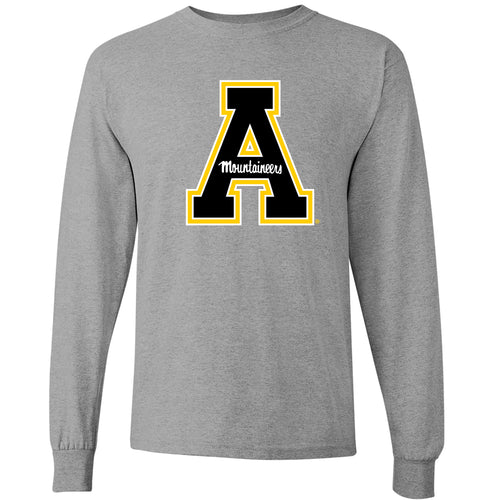 Appalachian State University Mountaineers Primary Logo Cotton Long Sleeve T-Shirt - Sport Grey
