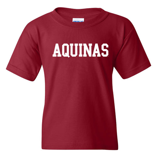 Aquinas College Saints Basic Block Basic Cotton Youth Short Sleeve T Shirt - Garnet