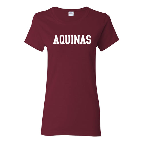 Aquinas College Saints Basic Block Basic Cotton Womens Short Sleeve T Shirt - Garnet
