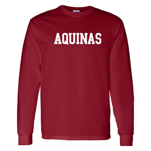 Aquinas College Saints Basic Block Cotton Long Sleeve T-Shirt - Garnet