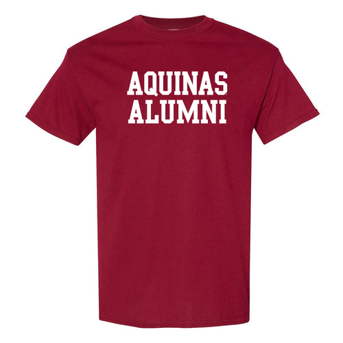 Aquinas College Saints Basic Block Alumni Cotton Short Sleeve T Shirt - Garnet