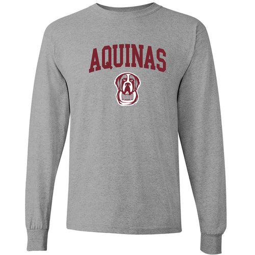 Aquinas College Saints Arch Logo Heavy Cotton Long Sleeve T-Shirt - Sport Grey