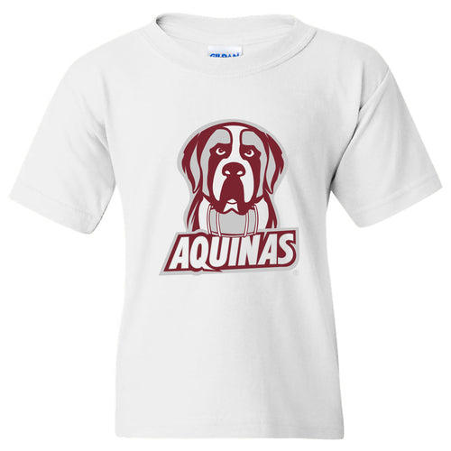 Aquinas Saints Primary Logo Youth T Shirt - White