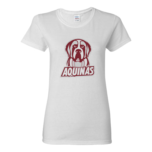 Aquinas College Saints Primary Logo Basic Cotton Womens Short Sleeve T Shirt - White