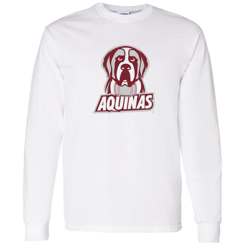 Aquinas College Saints Primary Logo Basic Cotton Long Sleeve T-Shirt - White