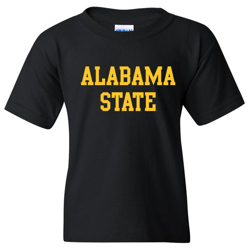 Alabama State University Hornets Basic Block Youth Short Sleeve T Shirt - Black