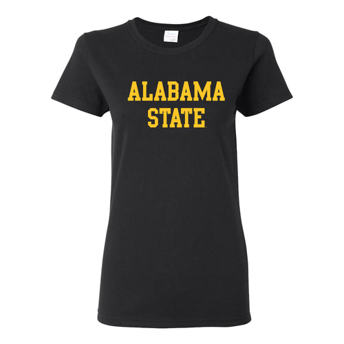Alabama State University Hornets Basic Block Womens Short Sleeve T Shirt - Black