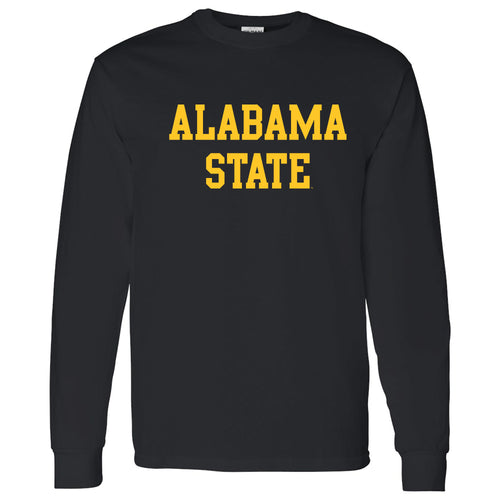 Alabama State University Hornets Basic Block Long Sleeve T Shirt - Black