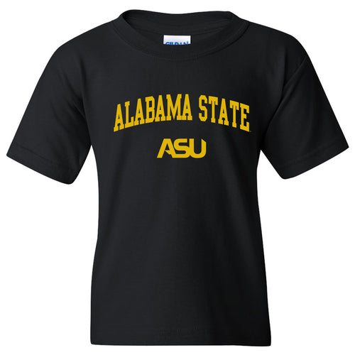 Alabama State University Hornets Arch Logo Youth Short Sleeve T Shirt - Black