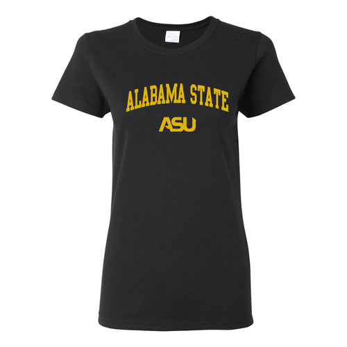 Alabama State University Hornets Arch Logo Womens Short Sleeve T Shirt - Black