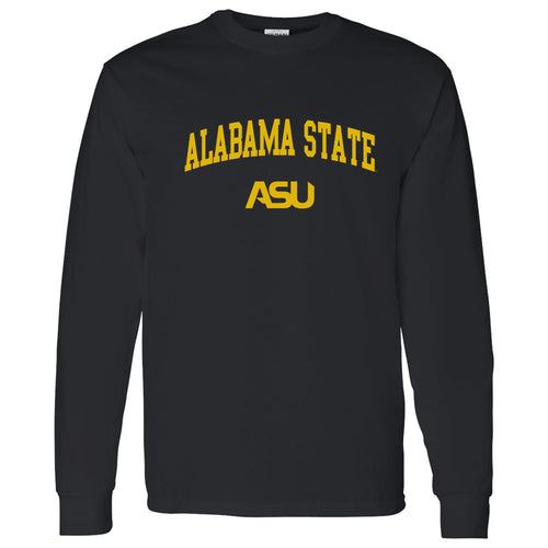 Alabama State University Hornets Arch Logo Long Sleeve T Shirt - Black