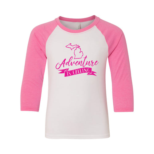 Adventure is Calling Michigan Next Level Youth Raglan Shirt - White/Hot Pink