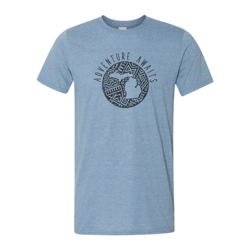 Adventure Awaits MI Tribal Softstyle Tee - Heather Indigo