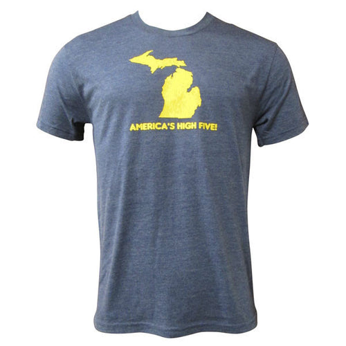 America's High Five Michigan Next Level Triblend Short Sleeve T Shirt - Vintage Navy