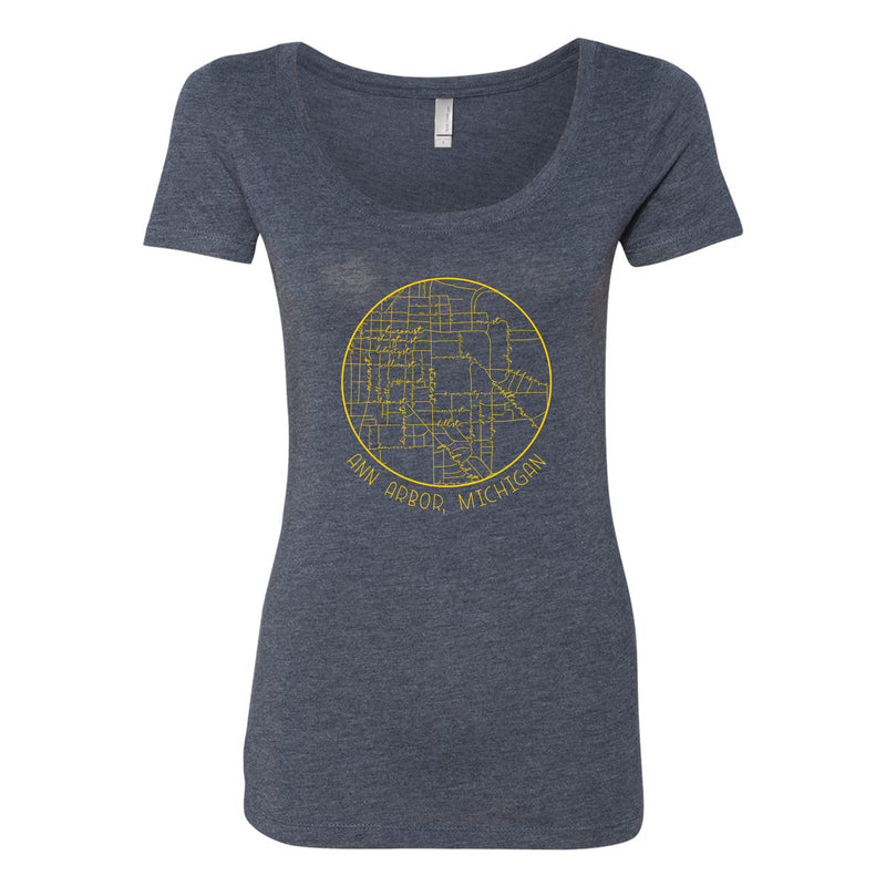 Ann Arbor Map Script Michigan Next Level Womens Triblend Scoopneck - Vintage Navy