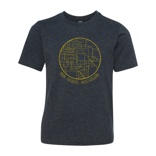 Ann Arbor Map Script Michigan Next Level Youth Triblend Short Sleeve T Shirt - Vintage Navy