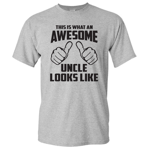 This is What An Awesome Uncle Looks Like: Favorite Number One Uncle Funny Basic Cotton Adult T Shirt - Sport Grey