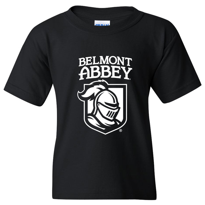Belmont Abbey College Crusaders Arch Logo Youth Short Sleeve T Shirt - Black