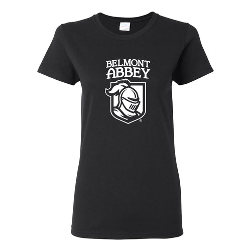 Belmont Abbey College Crusaders Arch Logo Womens Short Sleeve T Shirt - Black