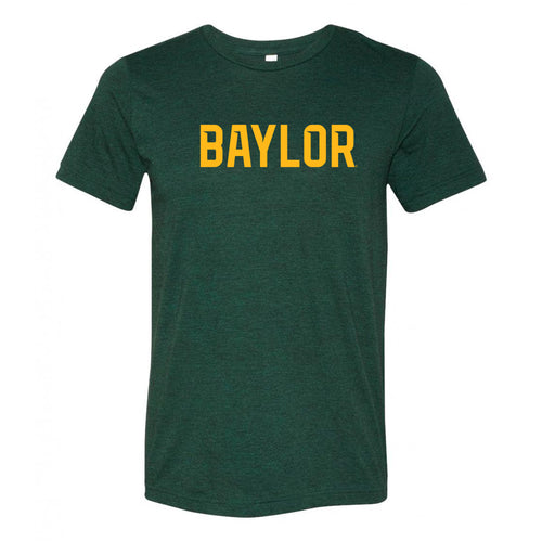 Baylor University Bears Basic Block Canvas Triblend T Shirt - Emerald Triblend