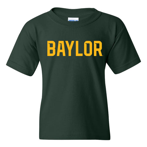 Baylor University Bears Basic Block Youth Short Sleeve T Shirt - Forest