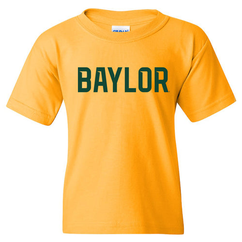 Baylor University Bears Basic Block Youth Short Sleeve T Shirt - Gold