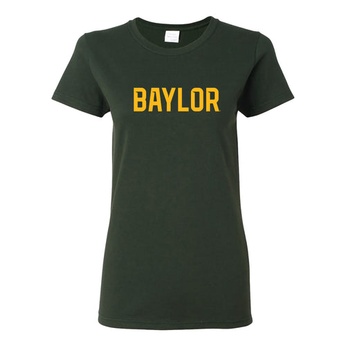 Baylor University Bears Basic Block Womens Short Sleeve T Shirt - Forest