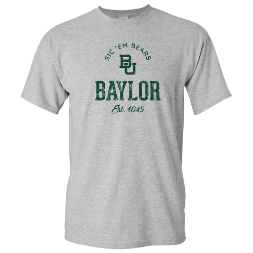 Baylor University Bears Established Arch Short Sleeve T Shirt - Sport Grey
